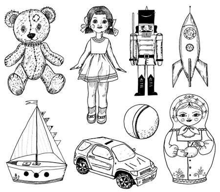 Children toy for children. Doll, Tin soldier, Matryoshka, rocket and sailing ship. Vintage retro style. Engraved hand drawn monochrome sketch. Vector illustration