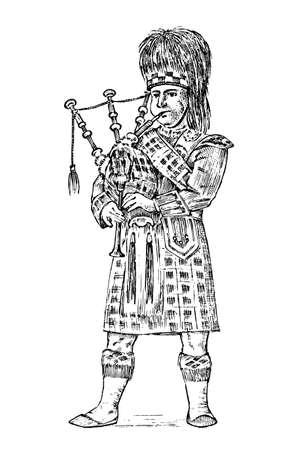 Schotte in Nationaltracht. Traditionelles kaledonisches schottisches Kleid. Nord Brite oder Sawney. Vintage gravierte handgezeichnete monochrome Skizze.