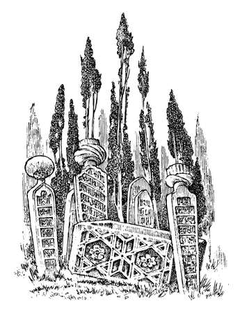 Vintage cemetery landscape on the background of the forest. Amazing scary place. Mystical landscape for cards, banners and website Vintage Engraved hand drawn monochrome sketch