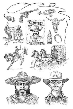 Set of cowboys. Western icons, Texas Ranger equipments. Wild West. Vintage Engraved hand drawn sketch. Portrait of a criminal man, sheriff and saddle, skull of a bull, whip and revolver trap