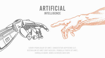 Hand touch. Android and human. Artificial intelligence Banner. Bionic arm poster. Future technology. Vintage Engraved drawn Monochrome Sketch.