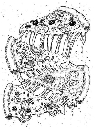 Slice of pizza with cheese. yummy italian vegetarian food with tomatoes, olives and eggplant. Label for restaurant menu. Hand drawn template. Vintage sketch style.