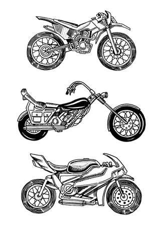 Moto d'epoca. Collezione di biciclette. Trasporto di motociclisti estremi. Vecchio stile retrò. Schizzo monocromatico inciso a mano