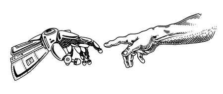 Tocco della mano. Androide e umano. Banner di intelligenza artificiale. Poster del braccio bionico. Tecnologia del futuro. Schizzo monocromatico disegnato vintage inciso.