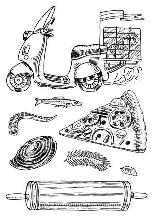 Set of Pizza delivery and ingredients for cooking. Scooter Motorcycle or transport, Rolling pin Seafood. Hand drawn template for restaurant menu. Vintage sketch Doodle style