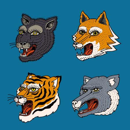 Chef de prédateur d'animaux sauvages. Visage de tigre de renard de loup. Portraits à la japonaise. Croquis monochrome gravé à la main pour les logos rétro. Fermer.