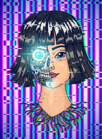 Artificial intelligence concept. A woman with half the face of a robot. Replicant or Android. Glitch background. Hand drawn Future technology. Vintage Engraved Monochrome Sketch.