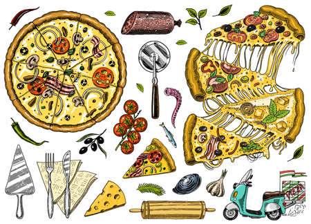 Slice of pizza with cheese. yummy italian vegetarian food with tomatoes, olives and eggplant. Label for restaurant menu or delivery. Hand drawn template. Vintage sketch style.