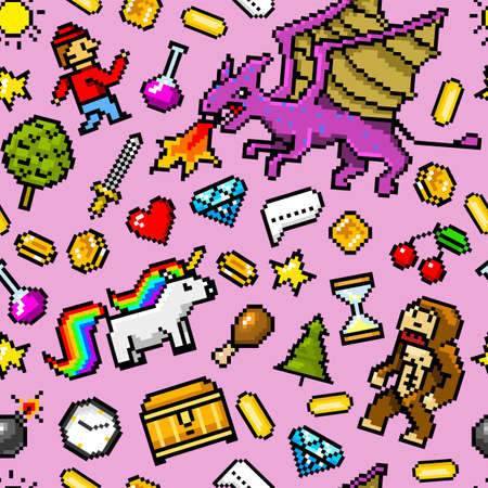 Pixel-Art 8-Bit-Objekte Nahtloses Muster. Retro-Spiel-Assets. Reihe von Symbolen. Vintage Computer-Video-Arkaden. Charaktere Dinosaurier Pony Regenbogen Einhorn Schlange Drachen Affe und Münzen, Siegertrophäe Vektorgrafik