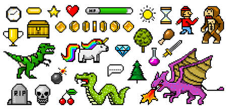 Pixel art 8 bit objects. Retro game assets. Set of icons. Vintage computer video arcades. Characters dinosaur pony rainbow unicorn snake dragon monkey and coins, Winner's trophy. Vector illustration