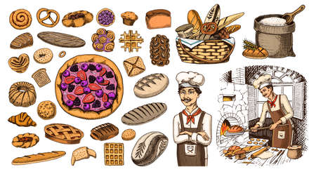 Set of Bakery products. Pastry chef and bag of flour. Bread and pie, buns and cakes. Pastry. Engraved hand drawn vintage style. Doodles for menu. Color food. Collection of Elements Vetores