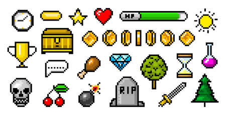 Pixel art 8 bit objects. Retro game assets. Set of icons. Vintage computer video arcades. Coins and Winner's trophy. Vector illustration