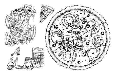 Set of pizza with cheese. Yummy italian vegetarian food with tomatoes, olives and eggplant. Sketch for restaurant menu. Hand drawn template. Vintage style