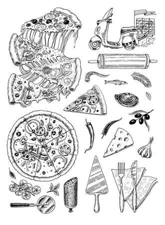 Juego de pizza con queso. Deliciosa comida vegetariana italiana con tomates, mariscos, aceitunas y berenjenas. Ingredientes para cocinar. Boceto para el menú del restaurante. Plantilla dibujada a mano. Estilo vintage