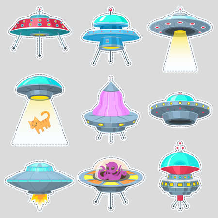 Set of UFO stickers. Alien spaceships, unidentified flying object, Fantastic rockets, Cosmic spacecrafts in universe space. Vector Illustration on white background. GUI elements, Cartoon Flat game