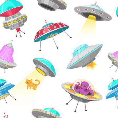 UFO-nahtloses Muster. Außerirdische Raumschiffe, nicht identifiziertes Flugobjekt, fantastische Raketen, kosmische Raumschiffe im Universumsraum. Vektor-Illustration auf weißem Hintergrund. GUI-Elemente, Cartoon Flat-Spiel Vektorgrafik