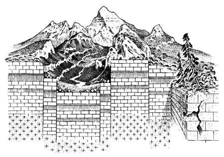 Litosfera e struttura della terra. Suolo e calcare. Sfondo di geografia geologia. Strati di placche tettoniche. Lo schema del movimento dei continenti e la formazione delle montagne Vettoriali