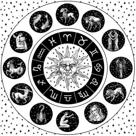 Ruota dello zodiaco. Oroscopo di astrologia con cerchio, sole e segni. Modello di calendario su sfondo nero. Animali di contorno di raccolta. Poster o banner, etichetta o adesivo. Schizzo vintage disegnato a mano inciso Vettoriali