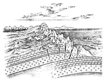 Lithosphere and the structure of the earth. Concept Geography geology background. layers and cross section of tectonic plates. The scheme of the movement of continents and the formation of mountains Ilustração Vetorial