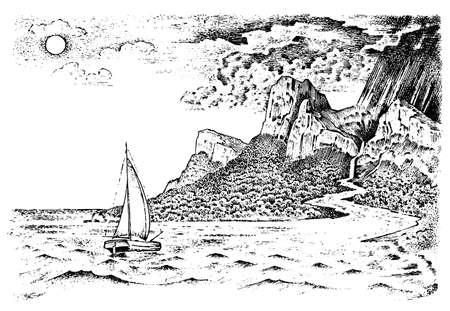 Der Wasserkreislauf auf der Erde. Geographie und Landschaftsnatur im Vintage-Stil. Konzept Ökologie Hintergrund. Handgezeichnete Retro-Illustration. Gravierte Skizze