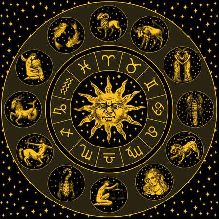 干支ホイール。円、太陽、看板を持つ占星術の星占い。黒の背景にカレンダーテンプレート。コレクションの概要動物。ポスターやバナー、ラベルまたはステッカー。刻まれた手描きヴィンテージスケッチ