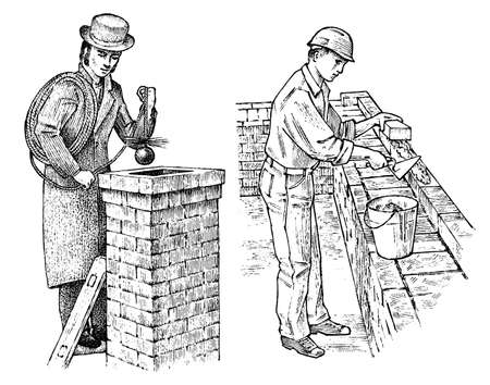Technician Bricklayer and Man builder on the roof of the house. Gentleman and Worker Engineer in the helmet make repairs. Hand drawn retro vintage illustration. Engraved sketch Vetores