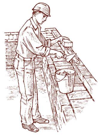 Maurer oder Baumeister auf dem Dach des Hauses. Arbeiter-Ingenieur im Helm. Handgezeichnete Retro-Vintage-Illustration. Gravierte Skizze. Vektorgrafik