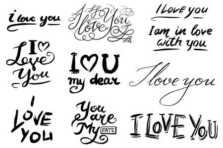 I love you text. Hand drawn lettering. Collection of grunge Elements. Typography Brush. Set of Illustration for banner, poster and greeting card Ilustração