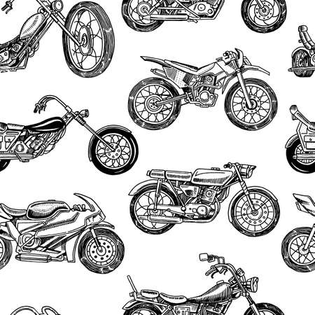 Vintage motorcycles Seamless Pattern. Bicycle Background. Extreme Biker Transport. Retro Old Style. Hand drawn Engraved Monochrome Sketch
