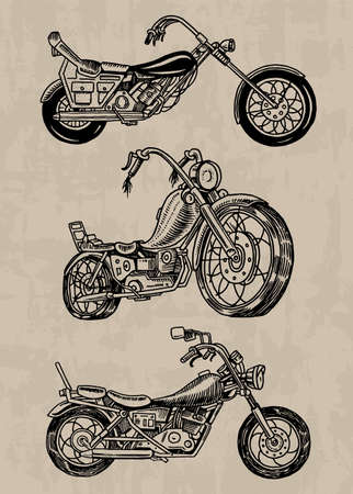 Set of Vintage motorcycles. Collection of bicycles. Extreme Biker Transport. Retro Old Style. Hand drawn Engraved Monochrome Sketch