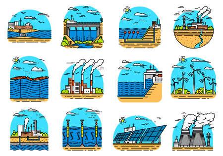 Iconos de plantas de energía. Conjunto de naves industriales. Fábricas Nucleares, Química Geotérmica, Eólica Solar Maremoto Hidroeléctrica, Combustible fósil, Generación de energía osmótica. Fuentes ecológicas de electricidad.