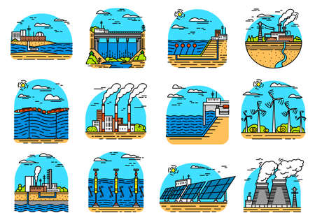 Power plants icons. Set of industrial buildings. Nuclear Factories, Chemical Geothermal, Solar Wind Tidal Wave Hydroelectric, Fossil fuel, Osmotic generating energy. Ecological sources of electricity. Illustration