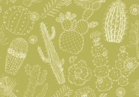 Cactus Seamless pattern and flowers. Cozy cute elements. Collection of tropical succulents and plants in vintage doodle style. Engraved hand drawn background for wall texture, banner, web site, cards Çizim