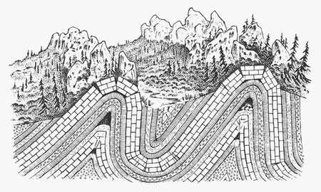 Strati del concetto di placche tettoniche. Litosfera e struttura della terra. Suolo e calcare. Sfondo di geografia geologia. Lo schema della formazione delle montagne