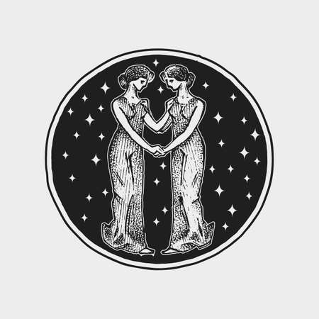 Virgo Zodiac icon. Astrology horoscope with sign. Calendar template. Collection outline animals. Classic vintage style. Engraved hand drawn sketch.