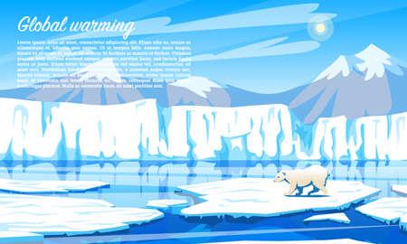 Globalne ocieplenie. Problem środowiskowy. Zmiana klimatu. Katastrofa ekologiczna. Zanieczyszczenie powietrza. Niedźwiedź polarny na pływającej krze w północnej części Oceanu Arktycznego Ilustracje wektorowe