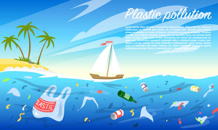 Ocean pollution. Plastic bottle and bags, rubbish, trash, household waste in the water. Environmental problem. Ecological catastrophe, Dirty sea. Destruction of sea creatures