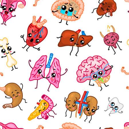 Cute organs Seamless pattern. Happy human, Set of smiling character. Cartoon kawaii icon. Healthy heart, stomach, liver, bladder, uterus organ, lungs, kidneys gallbladder intestine pancreas brain Stock Vector - 124380614