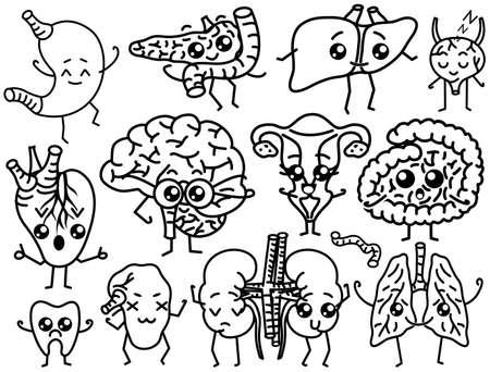 Cute organs. Happy human, Set of smiling characters. Vector pins, cartoon kawaii icons. Healthy heart, stomach, liver, bladder, uterus organ, lungs kidneys gallbladder intestine pancreas brain