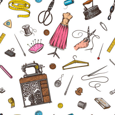 Sewing Seamless pattern. Tools and elements or materials for needlework. Tailor shop for badges labels. Thread and needle, mannequin. Engraved hand drawn realistic in old vintage sketch.  イラスト・ベクター素材
