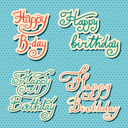 Happy Birthday text. Hand drawn lettering. Collection of grunge Elements. Typography Brush. Set of Illustration for banner, poster and greeting card