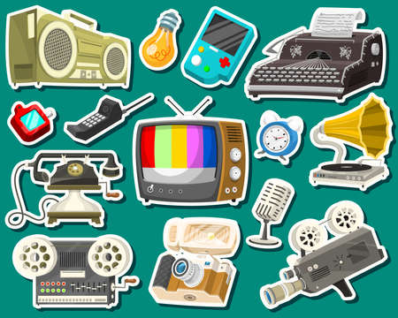 Vintage devices icons. Retro tech media, Television tv, Audio radio music, Electronic sound recorders, Movie Camera, Typewriter and Console, Vinyl player. Set of old gadgets and Multimedia technology.  イラスト・ベクター素材