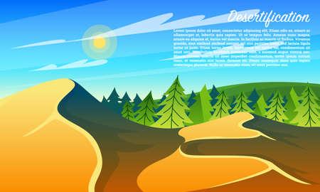 Wüstenbildung Wälder. Klimawandel. Umweltverschmutzung. Globales Problemkonzept. Ökologische Katastrophe. Sandwüste statt grüner Wiese.