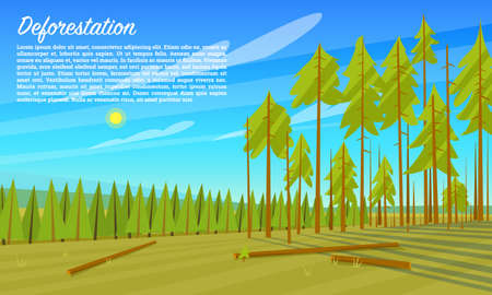 Deforestation concept. Cutting down trees. Environmental pollution and Ecological problems. Destruction of animals and harm to nature. Poster or banner for web site