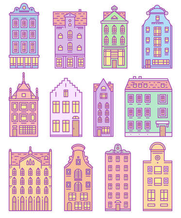 Europe house and apartments. Set of cute architecture in Amsterdam. Neighborhood with classic street and cozy homes. Building and facades for Banner or poster. Doodle sketch
