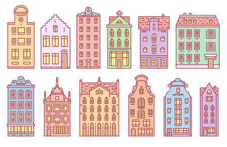 Europe house or apartments Set of Doodle sketch. Cute architecture in Netherlands. Cozy homes for Banner or poster. Building and facades. Flat style.  イラスト・ベクター素材