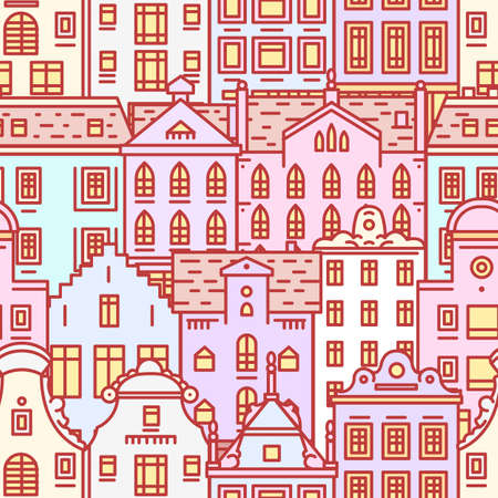 Europe house or apartments Seamless pattern. Cute architecture background. Neighborhood with classic street and cozy homes for Banner or poster. Building and facades. Doodle sketch Flat style.