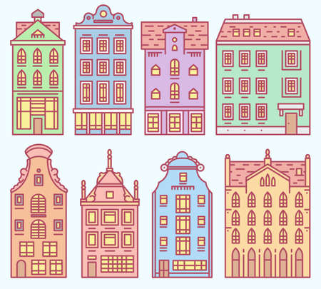 Set of Europe house or apartments. Cute architecture in Netherlands. Building and facades. Neighborhood with classic street and cozy homes. Doodle sketch Flat style.