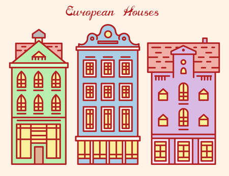 Europe house or apartments. Cute architecture in Netherlands. Neighborhood with classic street and cozy homes for Banner or poster. Building and facades. Doodle sketch Flat style.  イラスト・ベクター素材