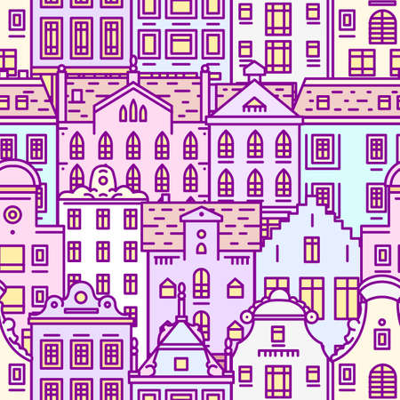 Europe house Seamless pattern. Cute architecture background. Neighborhood with classic apartments and cozy homes for Banner or poster. Doodle sketch
